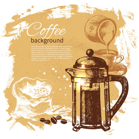 coffee pot: Hand drawn vintage coffee background