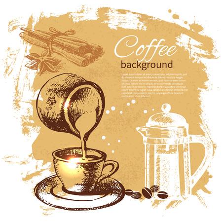 De hand getekend vintage koffie achtergrond
