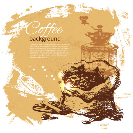 tarde de cafe: Dibujado a mano fondo caf� de la vendimia