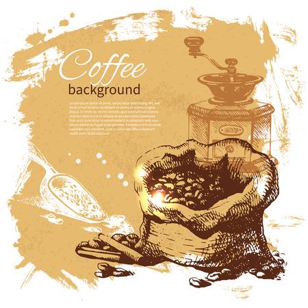 Hand drawn vintage coffee background Vector Illustration