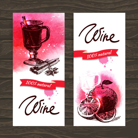 Banners of mulled wine vintage background. Hand drawn watercolor illustrations Vector