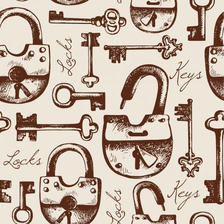 손으로 그린 자물쇠와 열쇠의 빈티지 원활한 패턴 일러스트