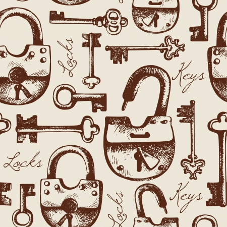 Vintage seamless pattern of hand drawn locks and keys  Çizim