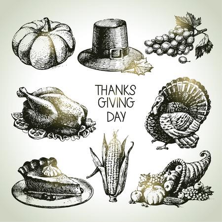 accion de gracias: Establece el Día de Acción de Gracias. Dibujado a mano ilustraciones de época