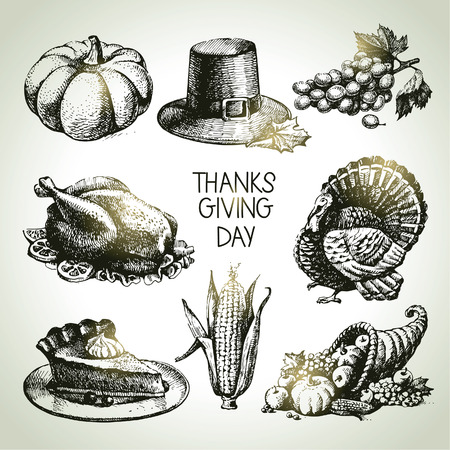 Thanksgiving Day set. Hand drawn vintage illustrations Vector