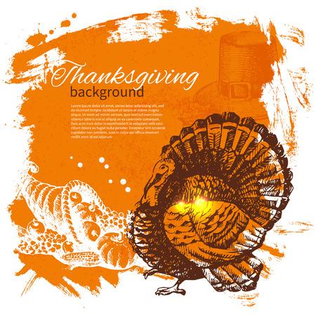 De hand getekend vintage Thanksgiving Day achtergrond Stock Illustratie