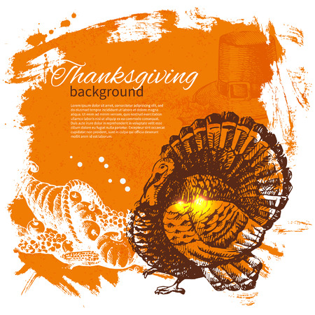 Hand drawn vintage Thanksgiving Day background Фото со стока - 23474990