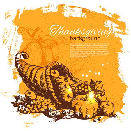 accion de gracias: Dibujado a mano vintage background Día de Acción de Gracias