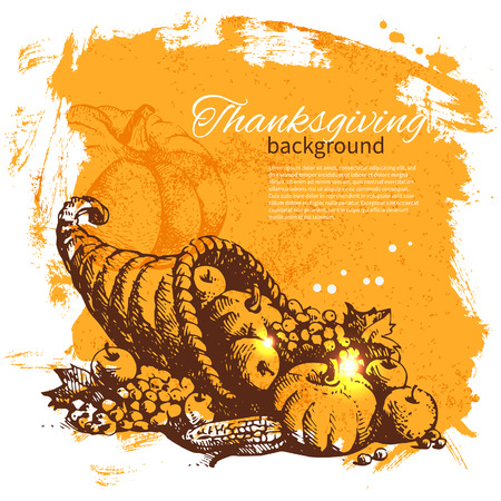 Hand drawn vintage Thanksgiving Day background Stock Vector - 23474991