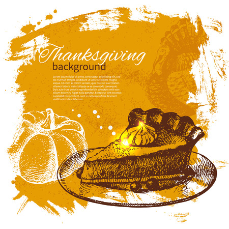 cornucopia: Hand drawn vintage Thanksgiving Day background