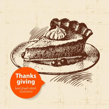 pumpkin pie: Hand drawn vintage Thanksgiving Day illustration