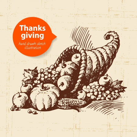Hand drawn vintage Thanksgiving Day illustration Vector