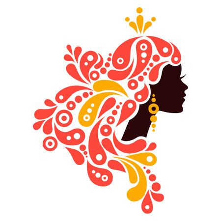 elementi: Bella donna silhouette. Tatuaggio di capelli astratta ragazza Vettoriali