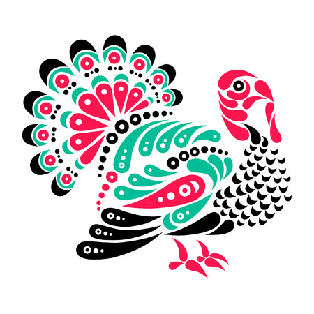 Happy Thanksgiving beautiful turkey tattoo, symbol decoration illustration Vector