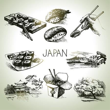 asian culture: Disegnati a mano vintage set giapponese Vettoriali