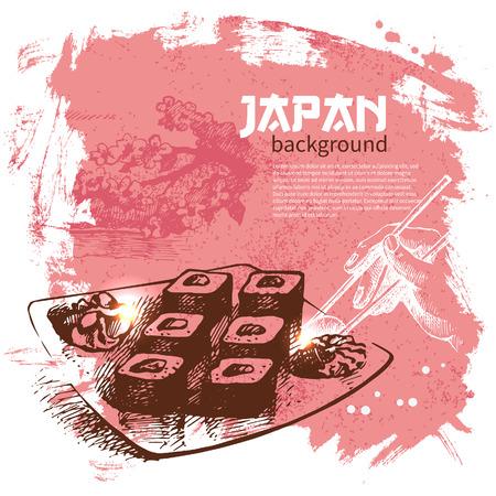 sushi roll: Hand drawn vintage Japanese sushi background