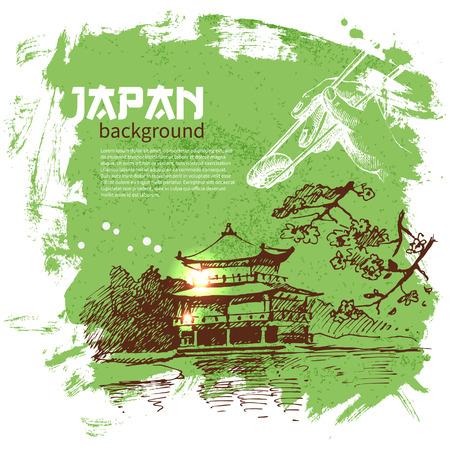 arroz: Dibujado a mano vintage background sushi japonés
