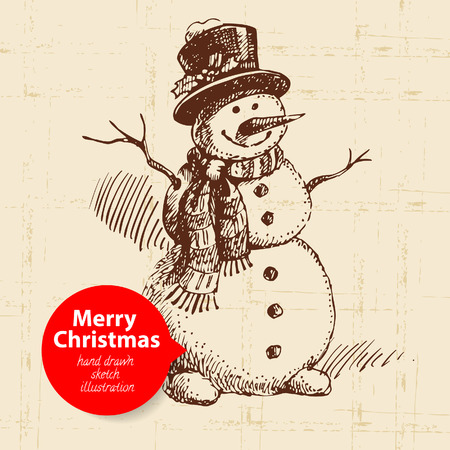 Christmas background with hand drawn illustration Vector