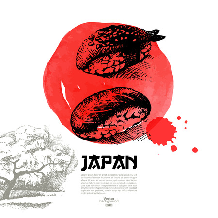 japanese flag: Hand drawn Japanese sushi illustration  Sketch and watercolor menu background