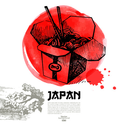 Hand drawn Japanese sushi illustration  Sketch and watercolor menu background Vector