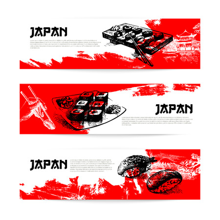 Set of Japanese sushi banners  Sketch illustrations Vector