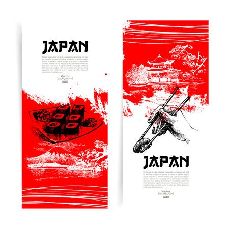 Set of Japanese sushi banners  Sketch illustrations for menu Vector