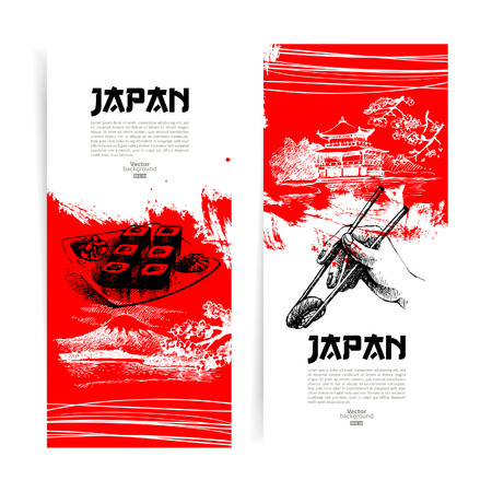 Set of Japanese sushi banners  Sketch illustrations for menu Illustration