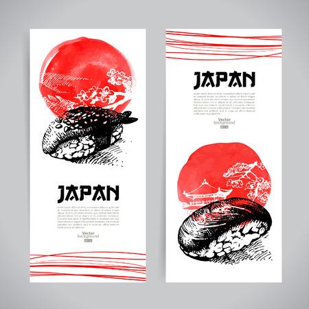 arroz: Conjunto de banners de sushi japoneses ilustraciones bosquejo para el menú