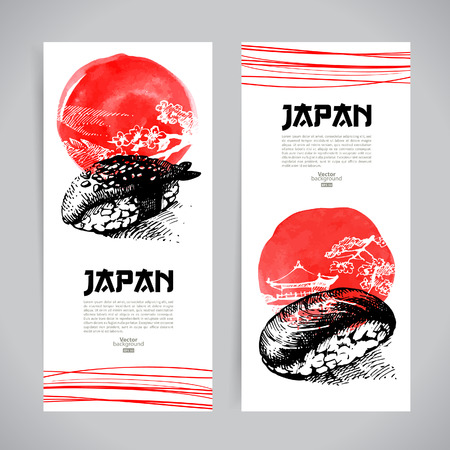 seafood background: Set of Japanese sushi banners  Sketch illustrations for menu Illustration