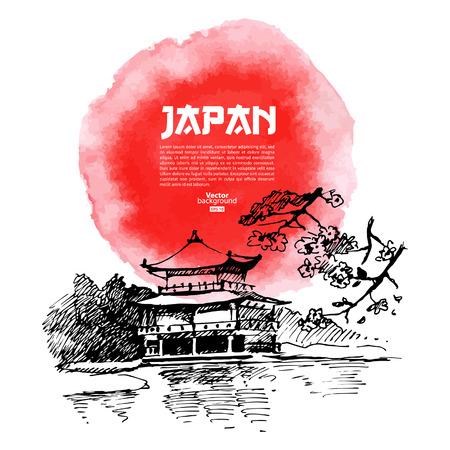 bandera japon: Dibujado a mano sushi japon�s ilustraci�n Boceto y acuarela