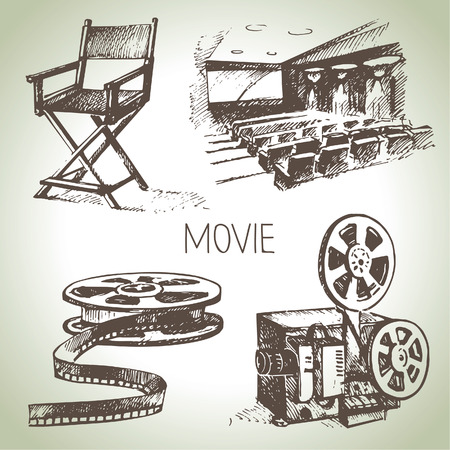 Movie and cinema set  Hand drawn vintage illustrations Vector