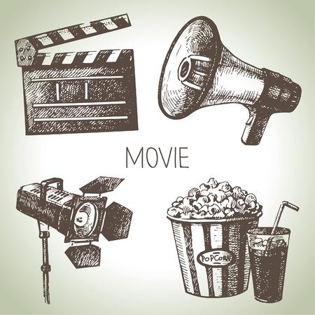 映画と映画セット手描きビンテージ イラスト
