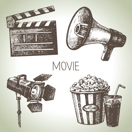 Movie and film set  Hand drawn vintage illustrations Vector