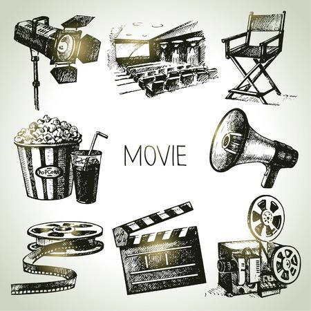 영화와 영화 세트 손 빈티지 그림을 그려 스톡 콘텐츠 - 23986536