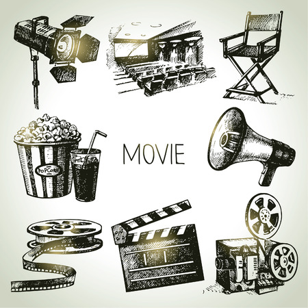 movie camera: Movie and film set  Hand drawn vintage illustrations