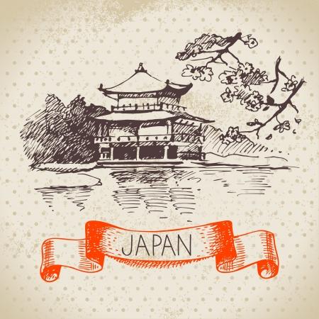 손 일본어 그림을 그려. 스케치와 수채화 배경