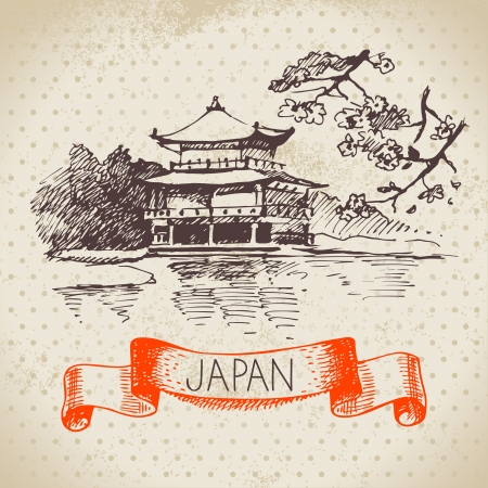 Hand drawn Japanese illustration. Sketch and watercolor background