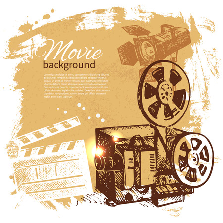 Movie background with hand drawn sketch illustration Vector