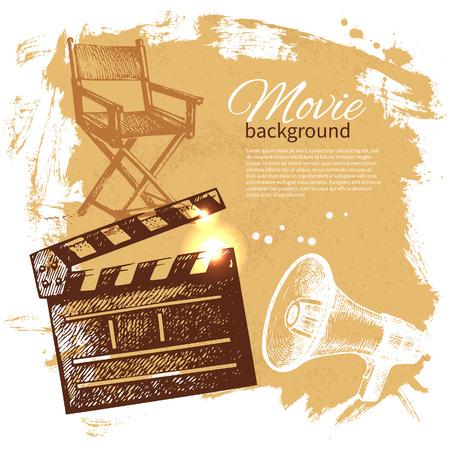 obsolete: Movie background with hand drawn sketch illustration