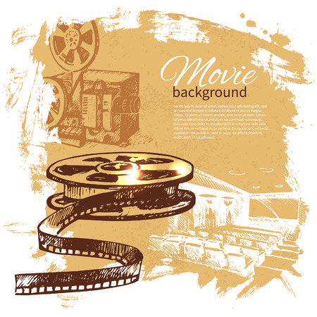 film camera: Movie background with hand drawn sketch illustration