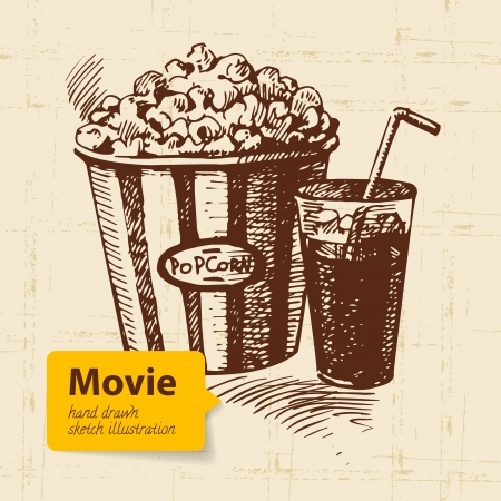 multimedia background: Hand drawn movie illustration. Sketch background