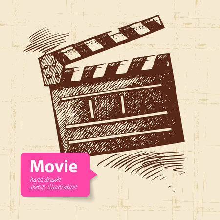 Hand drawn movie illustration. Sketch background Stock Vector - 23986595