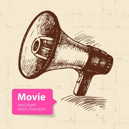 Hand drawn movie illustration. Sketch background Stock Vector - 23986597