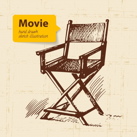 director chair: Hand drawn movie illustration. Sketch background