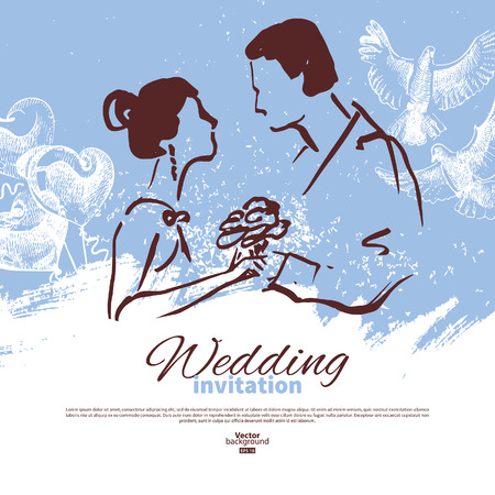 Wedding invitation card. Vintage sketch  illustration with newlyweds silhouettes Vector