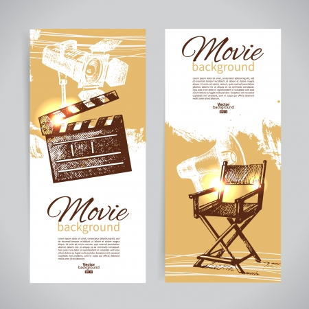 Set of cinema banners with hand drawn sketch illustrations Vector