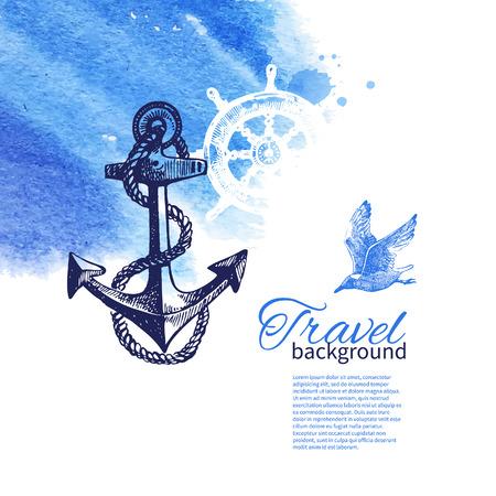 ビンテージ背景を旅行します。海航海デザイン。手描きのスケッチと水彩イラスト