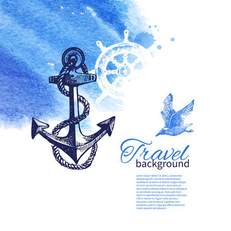 Travel vintage background. Sea nautical design. Hand drawn sketch and watercolor illustrations  Vector