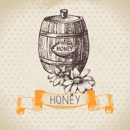 barrels set: Honey background with hand drawn sketch illustration