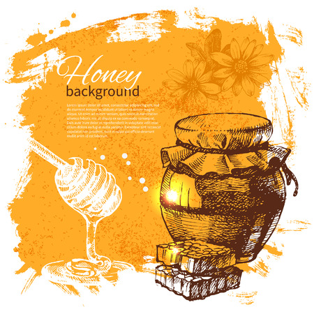 bees: Honey background with hand drawn sketch illustration